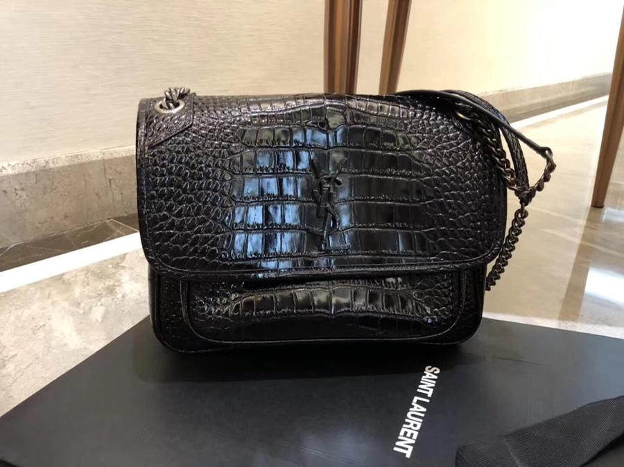 Hot Sell Saint Laurent Niki Baby In Crocodile Embossed Patent Leather Black
