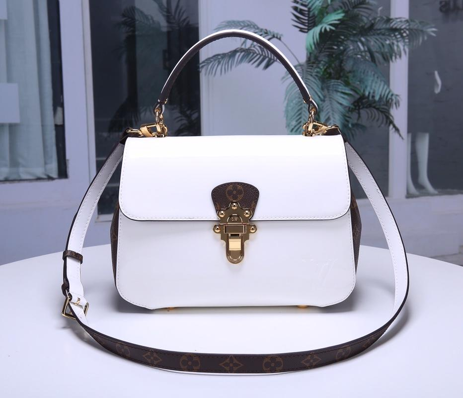 Louis Vuitton M53352 Cherrywood Handbag and Removable Strap Monogram Canvas Blanc