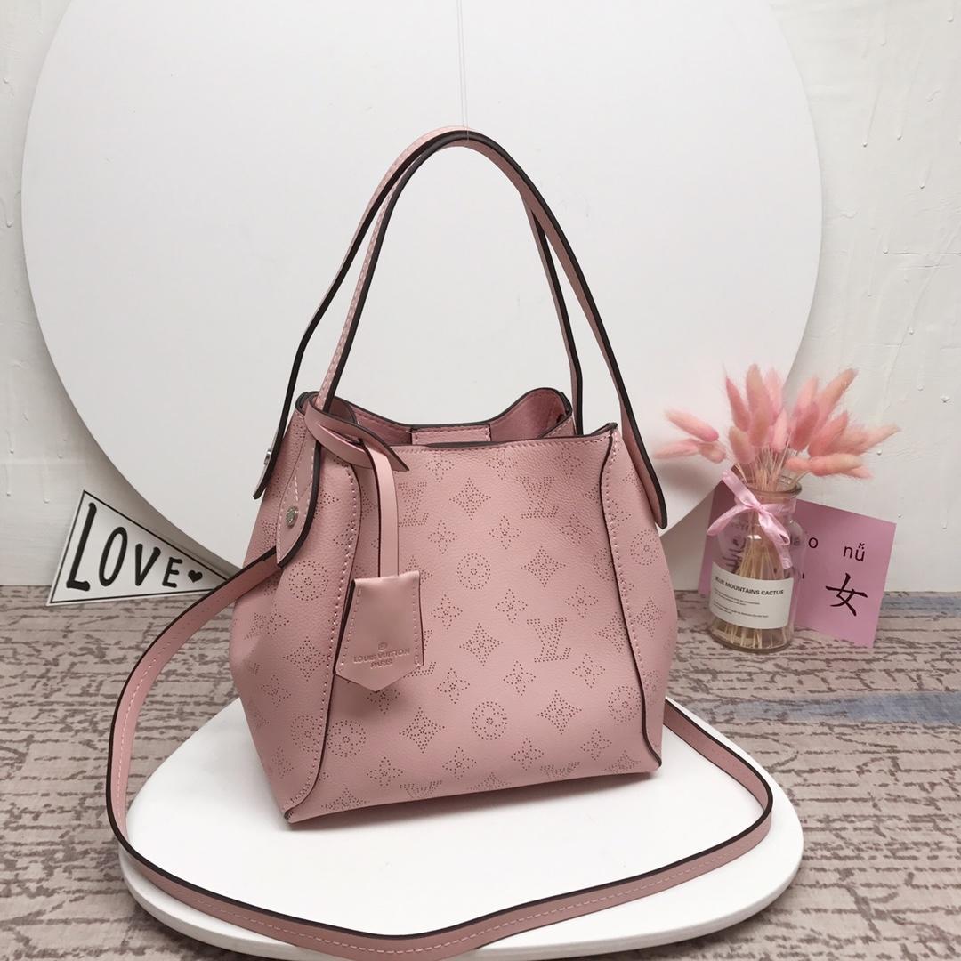 Louis Vuitton M54353 Hina PM Mahina Perforated Calf Leather Handbag Pink