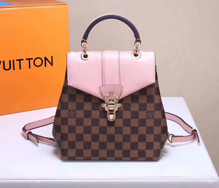 Louis Vuitton N42262 Clapton Women Backpack Damier Ebene Canvas and Cowhide Leather Magnolia Online Shop