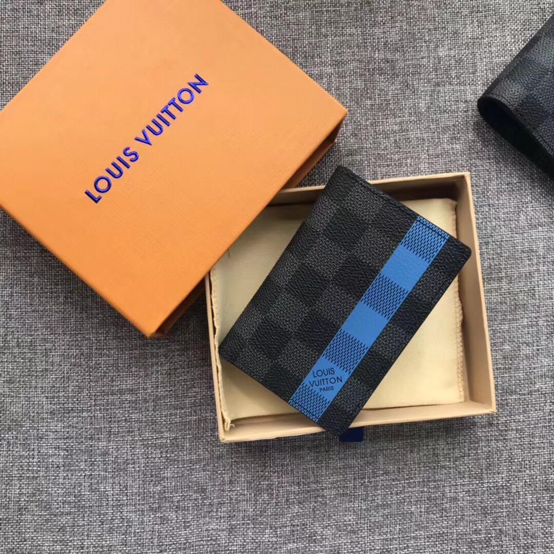Louis Vuitton N60076 Pocket Organizer Men Wallet Damier Graphite Coated Canvas
