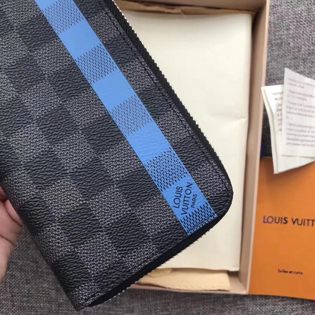 Louis Vuitton N60078 Zippy Men Vertical Wallet Damier Graphite Stripe