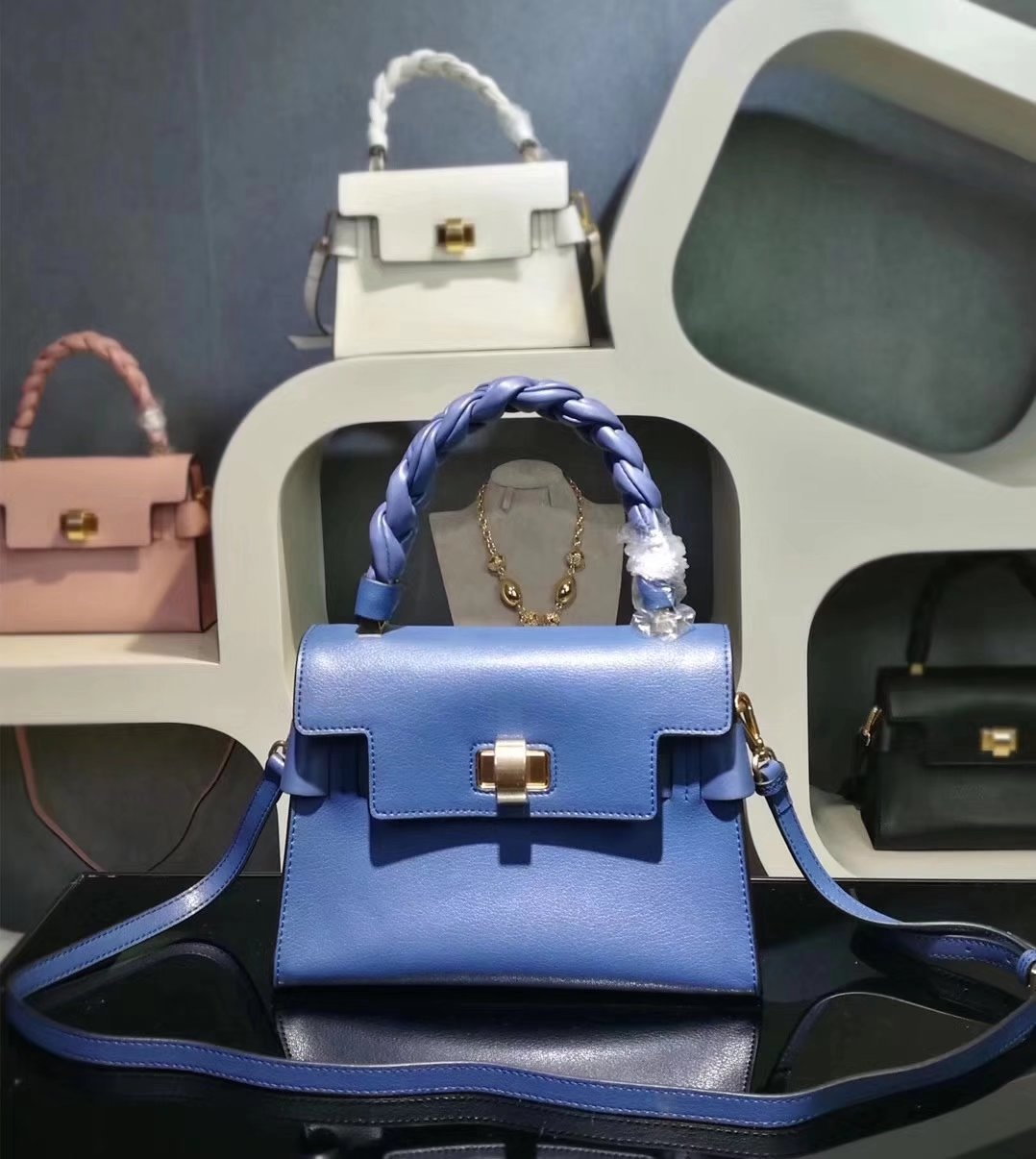 MiuMiu 6812 Women Leather Handbag Blue