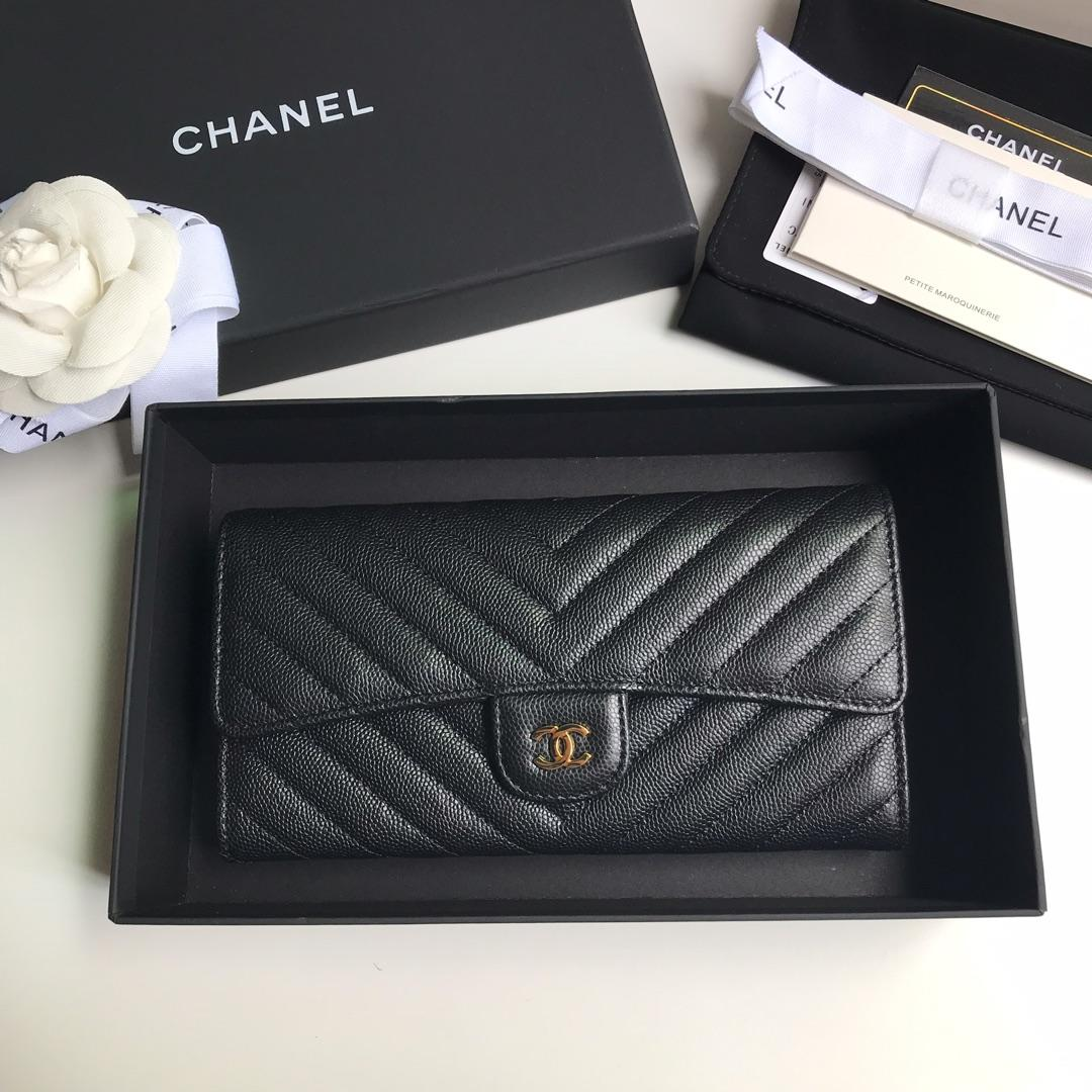 NEW Replica Chanel A80758 Classics Flap Long Wallet Caviar Quilted Genuine Leather Gold Tone Metal