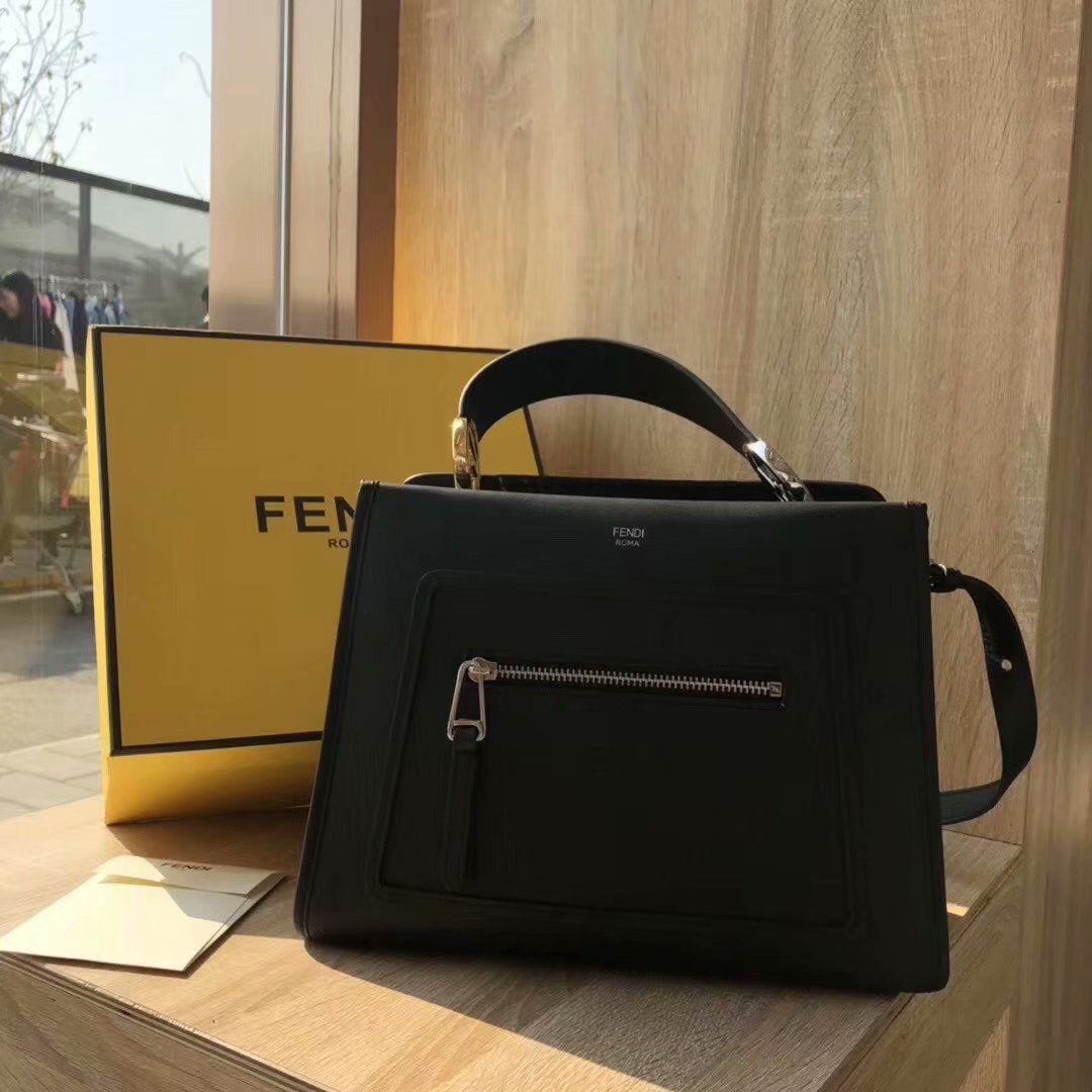 NEW Replica Fendi Runaway Small Black Leather Tote Bag