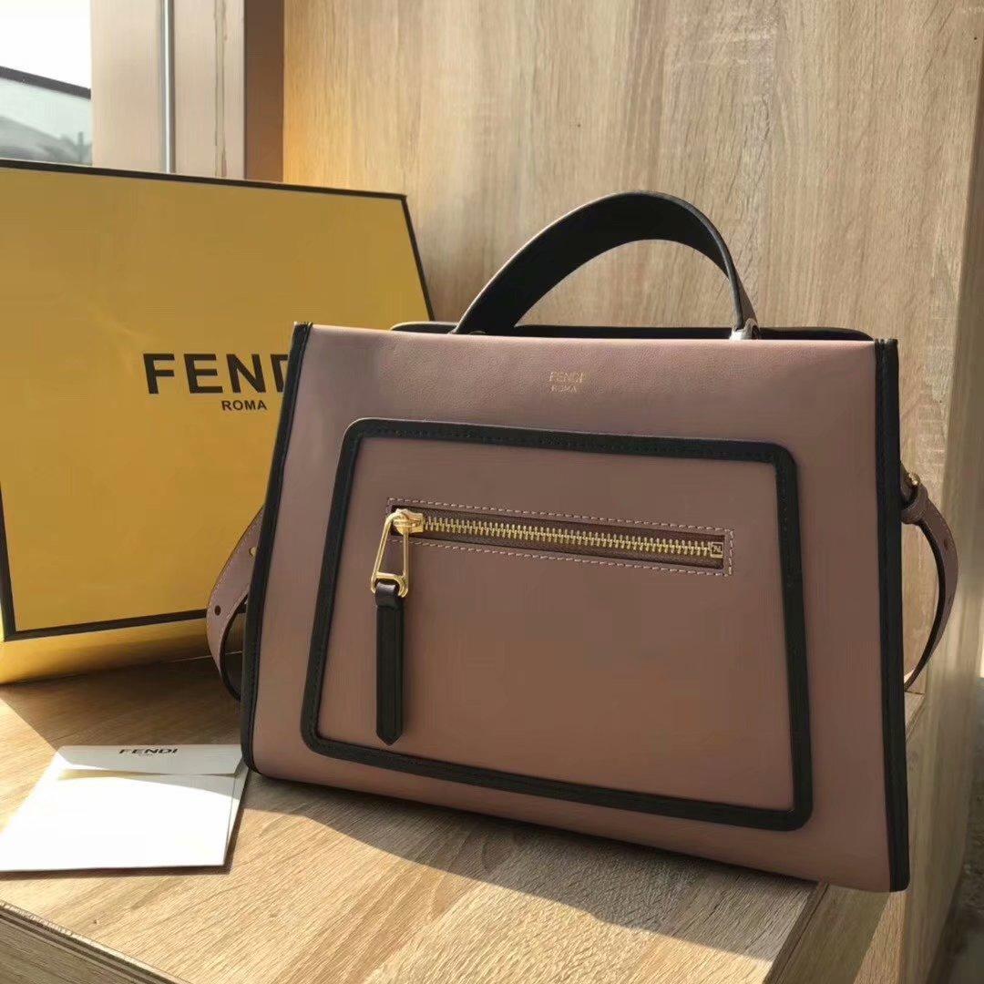 NEW Replica Fendi Runaway Small Pink Leather Tote Bag