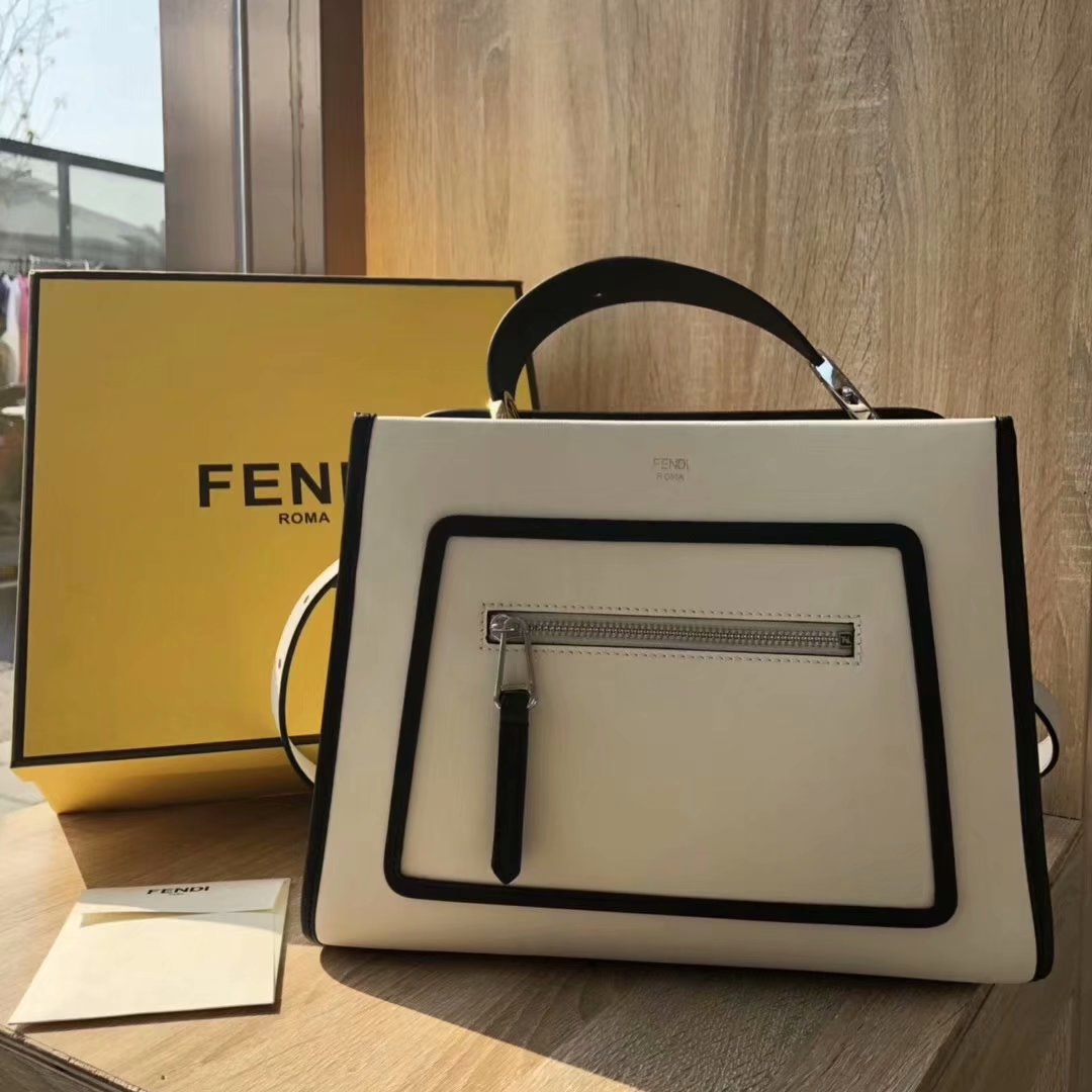 NEW Replica Fendi Runaway Small White Leather Tote Bag