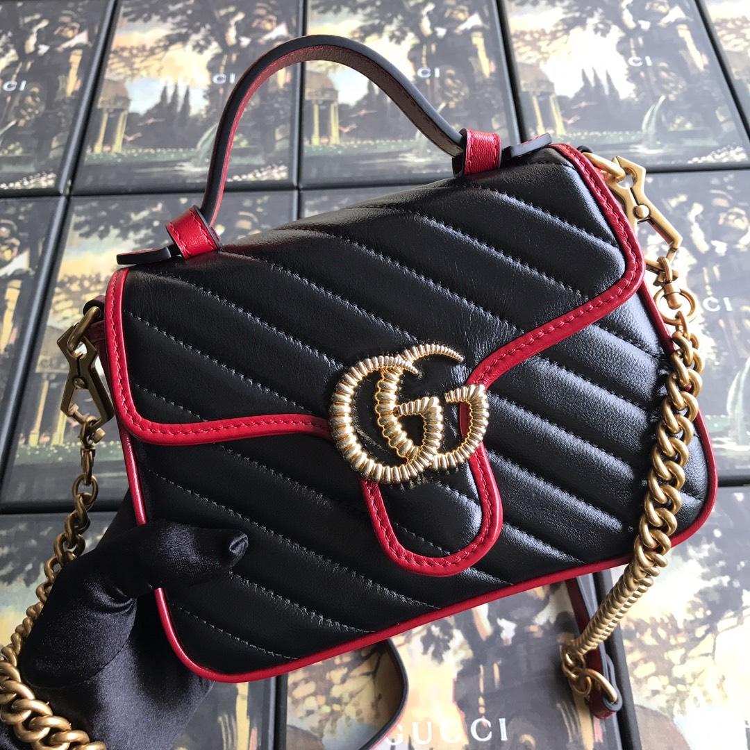 NEW Replica Gucci 583571 GG Marmont Mini Top Handle Bag Black