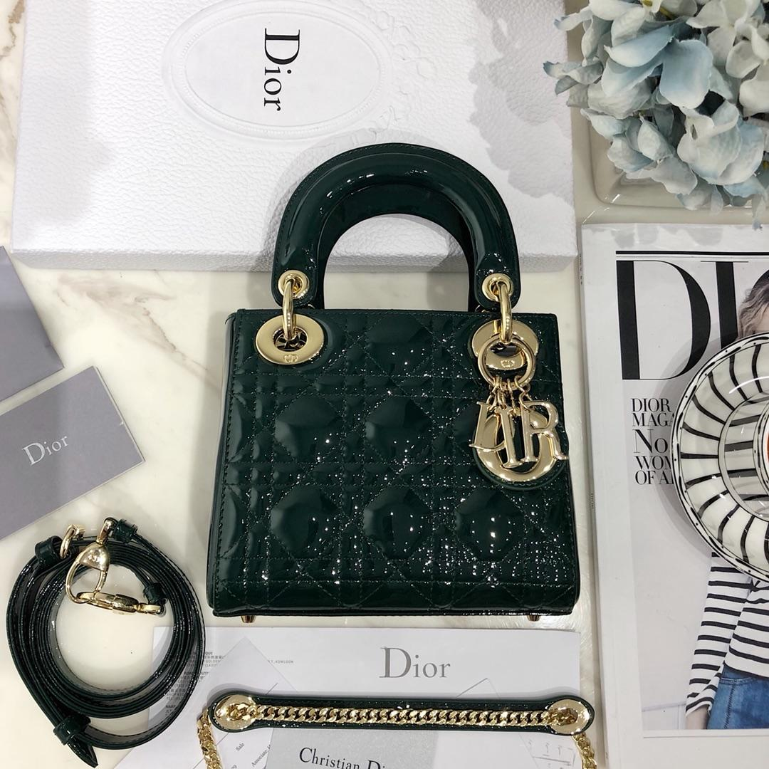 NEW Replica Mini Lady Classic Dior Green Calfskin Bag with Chain in Light Gold Tone Metal