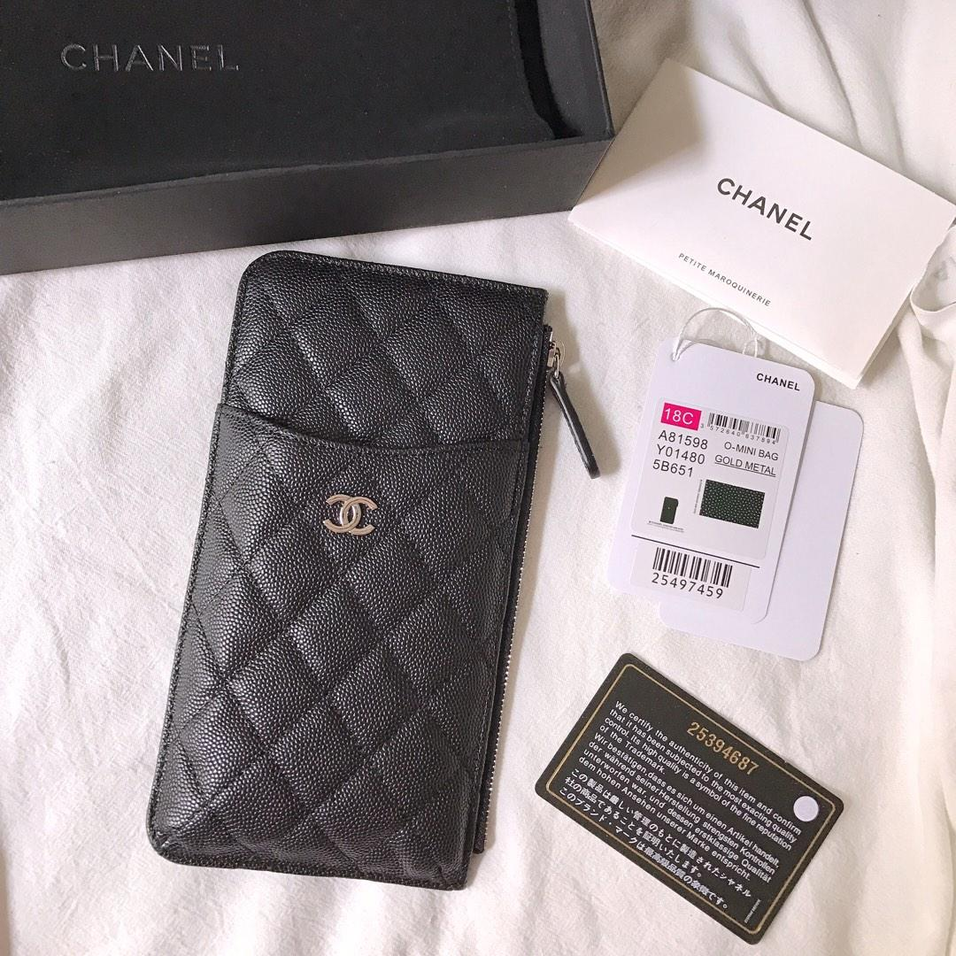 New Copy Chanel Phone Bag Wallet Caviar Quilted Genuine Leather Black Silver