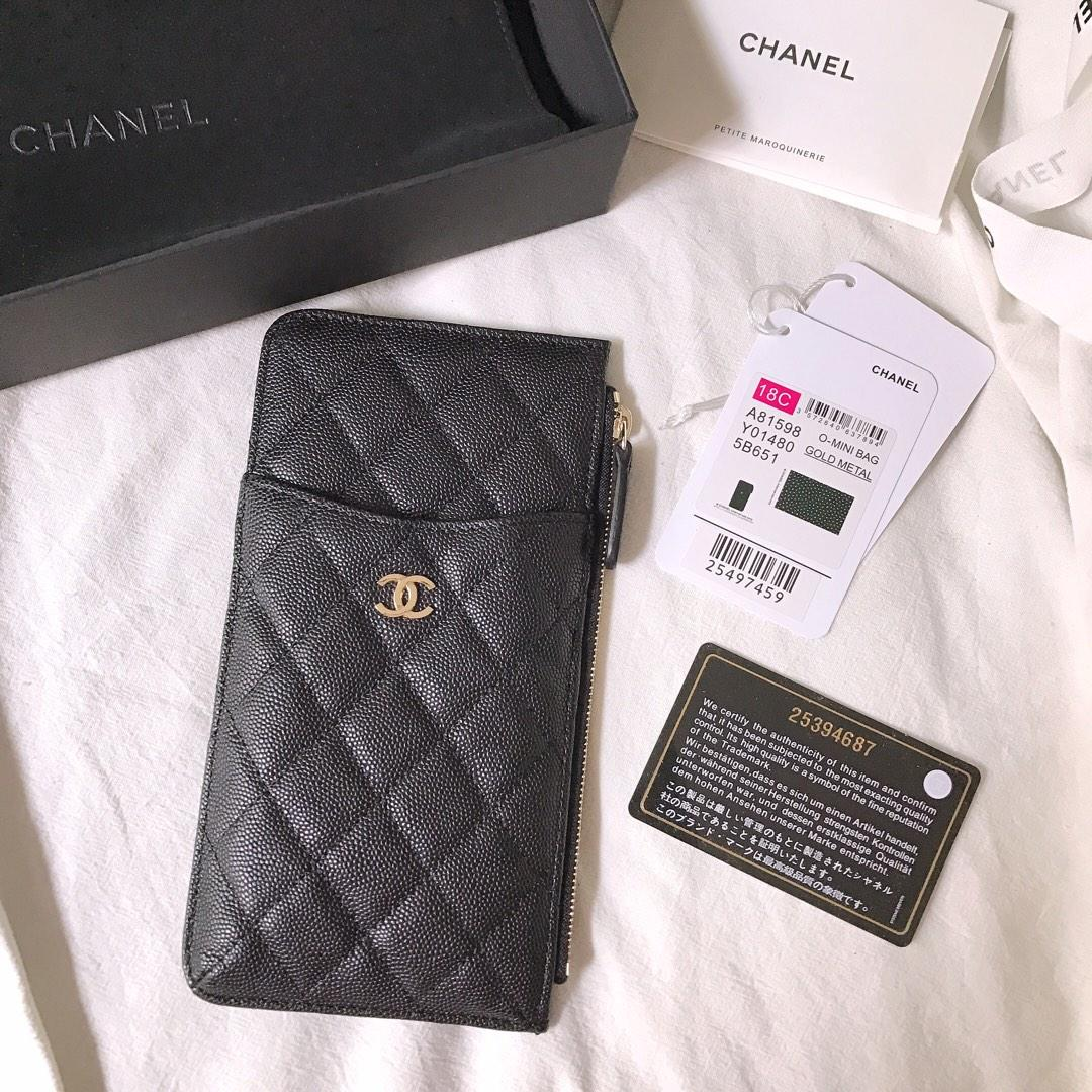 New Copy Chanel Phone Bag Wallet Caviar Quilted Genuine Leather Gold Silver
