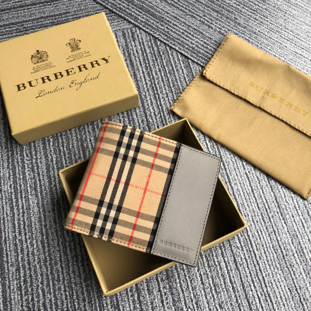 New Replcia Burberry Small Scale Check International Bifold Wallet Grey