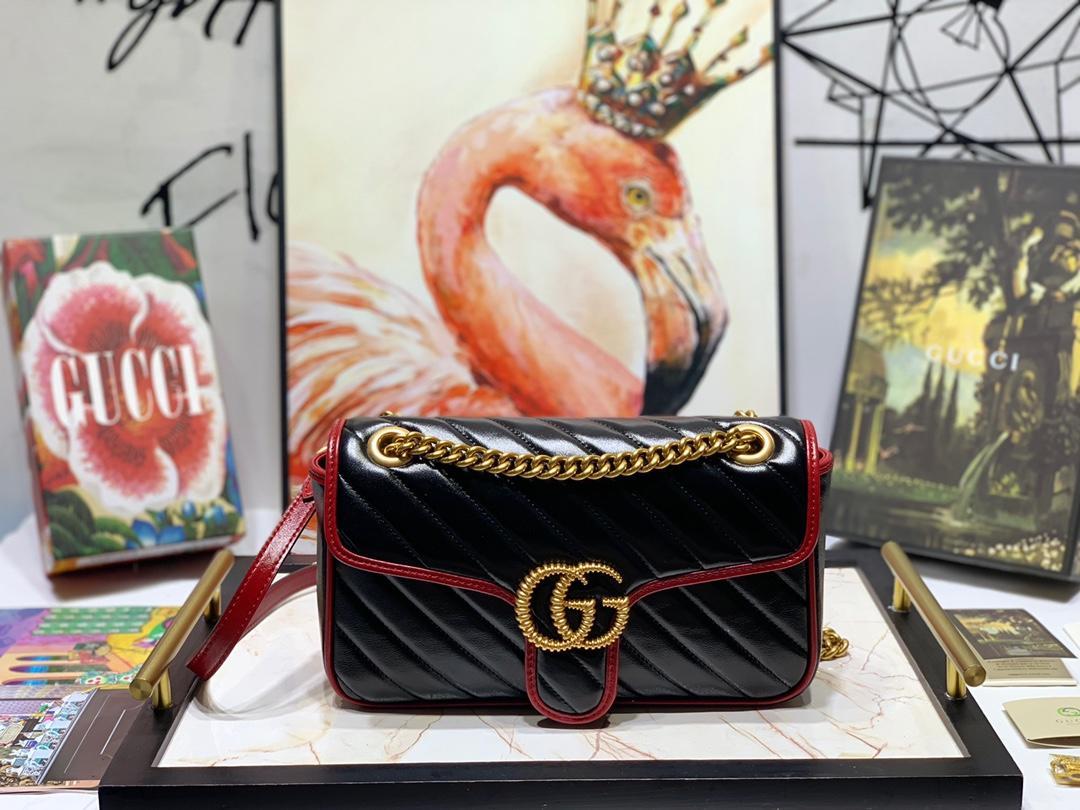 New Replica Gucci 443497 Women GG Marmont Small Shoulder Bag Black