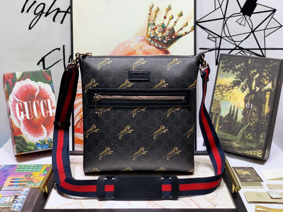 New Replica Gucci 474137 Men GG Supreme Tigers Messenger Bag