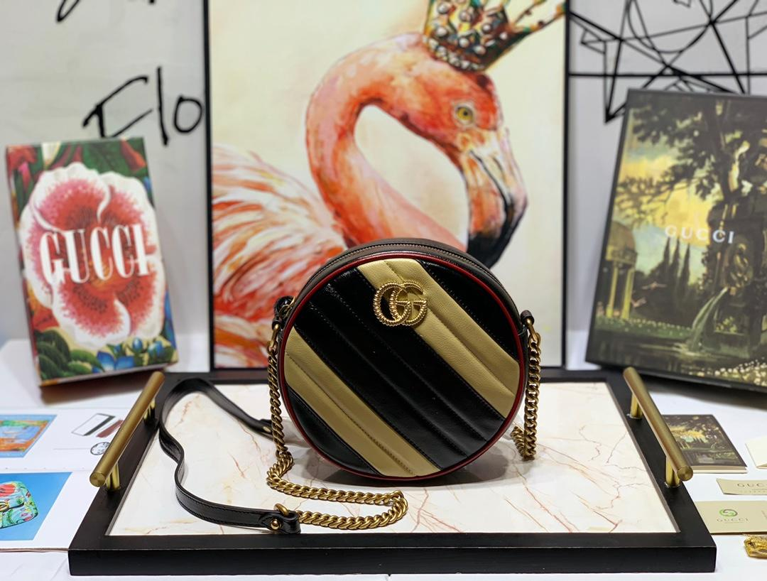 New Replica Gucci 550154 Women GG Marmont Mini Round Shoulder Bag Beige Black