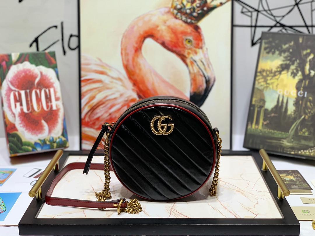 New Replica Gucci 550154 Women GG Marmont Mini Round Shoulder Bag