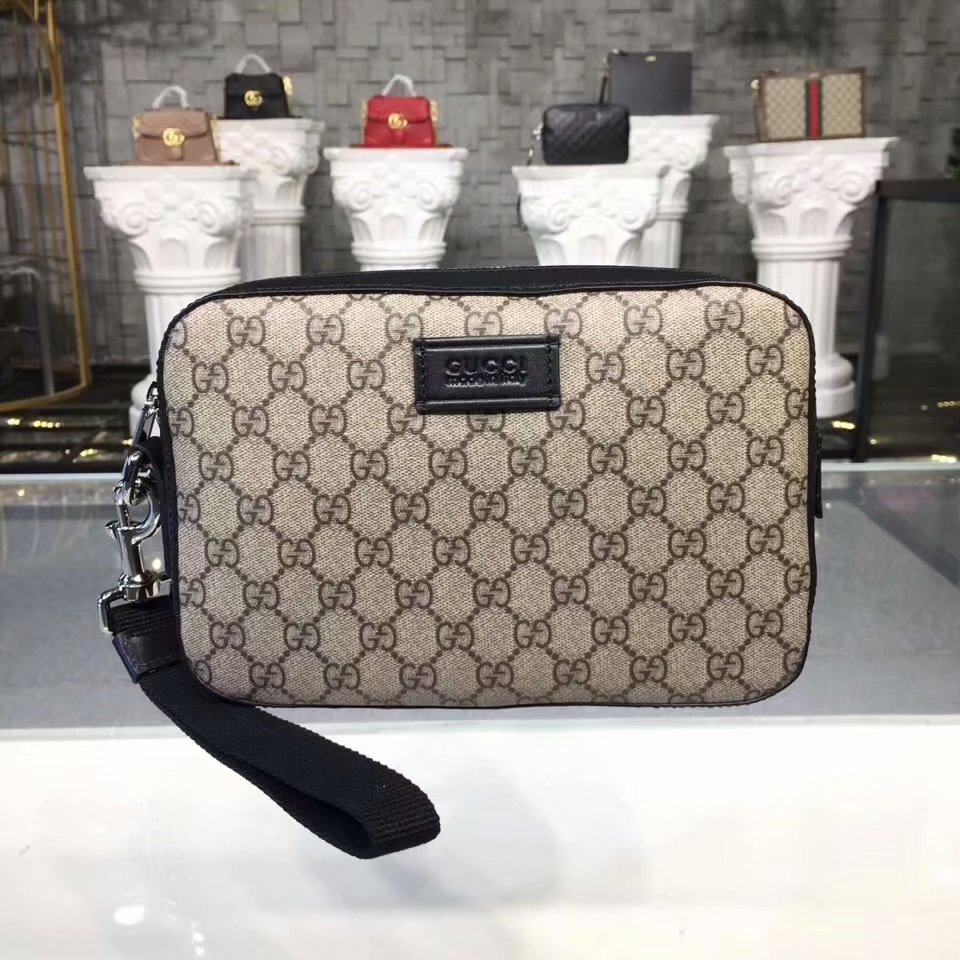 New Replica Gucci Men GG Supreme Pouch Khaki