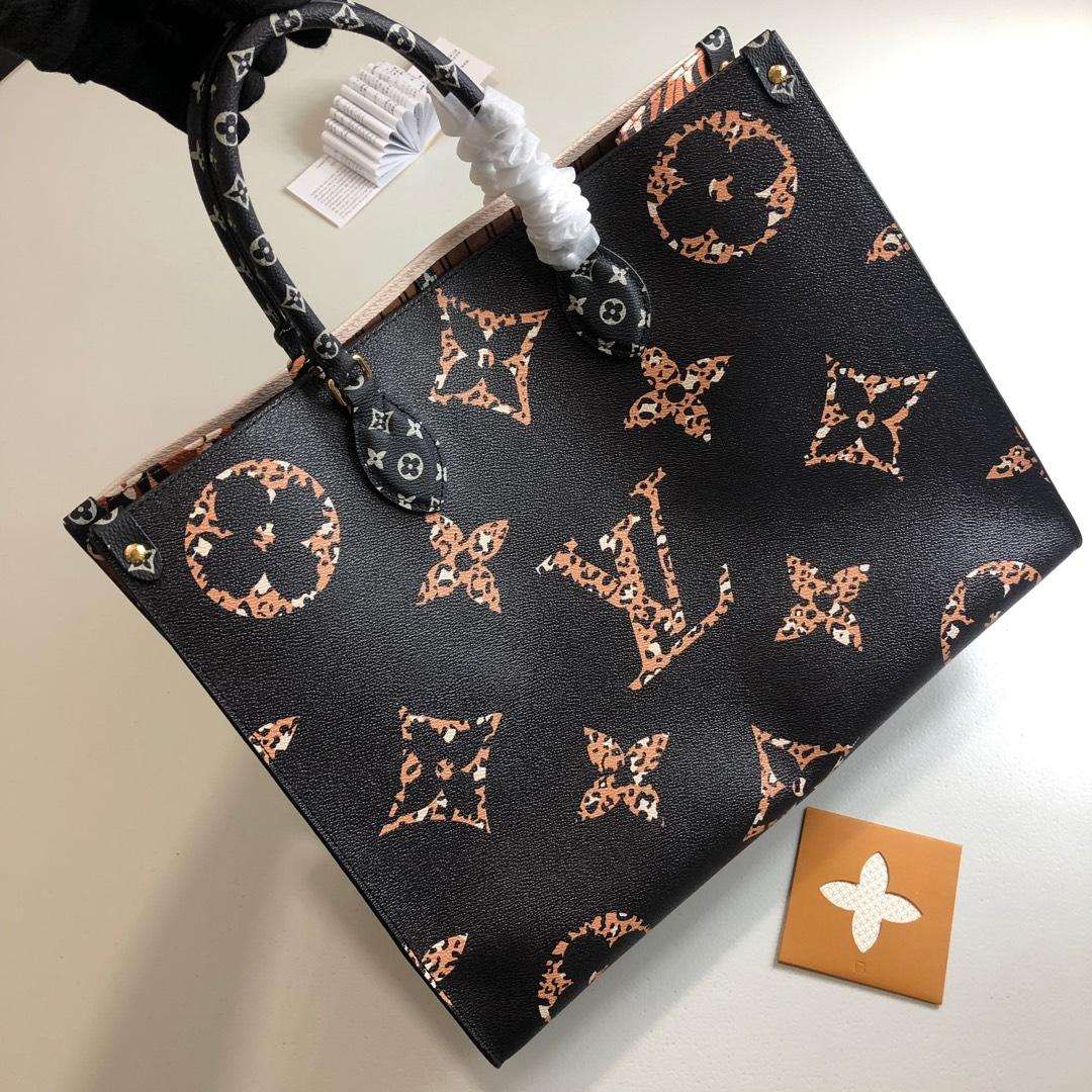 New Replica Louis Vuitton Women Onthego Tote Bag Monogram Motif Black