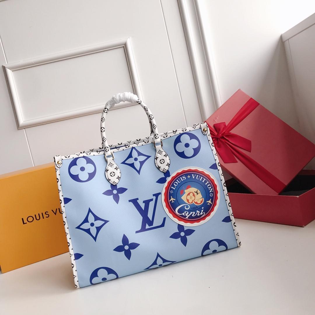 New Replica Louis Vuitton Women Onthego Tote Bag Monogram Motif Blue