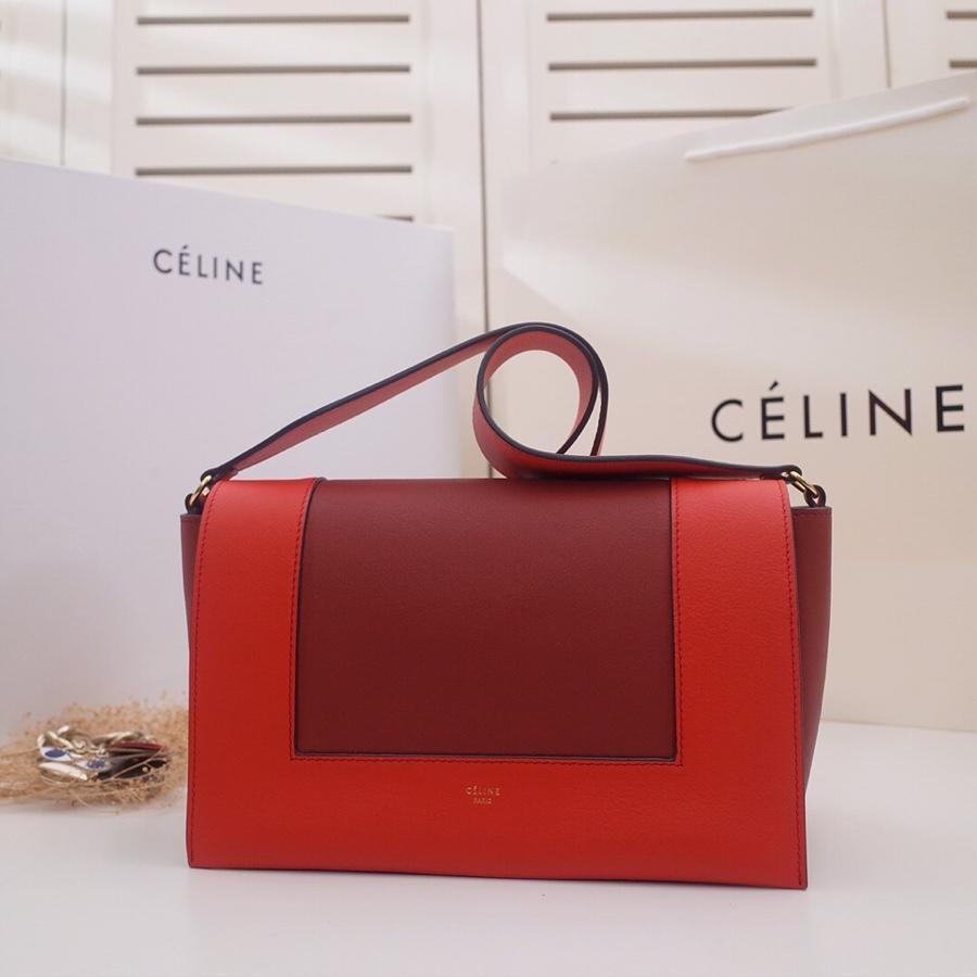 Original Copy Celine Medium Frame Shoulder Bag Red and Dark Red