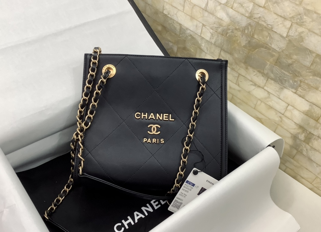 Original Copy Chanel AS2750 Shopping Bag Black Leather With Gold