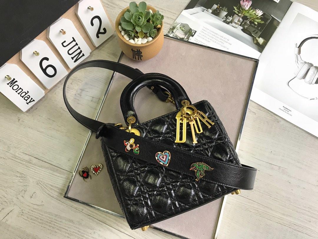 Original Copy Dior My Lady Dior Bag in Black Crinkled Cannage Calfskin
