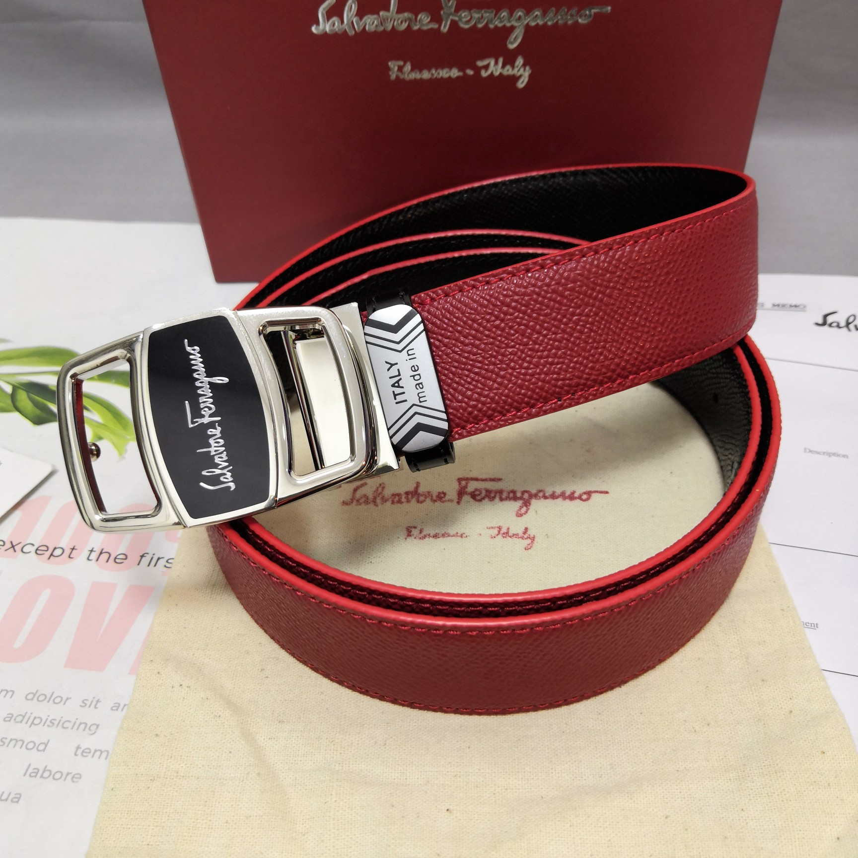 Original Copy Ferragamo Leather Reversible Belt Width 3.4cm 096
