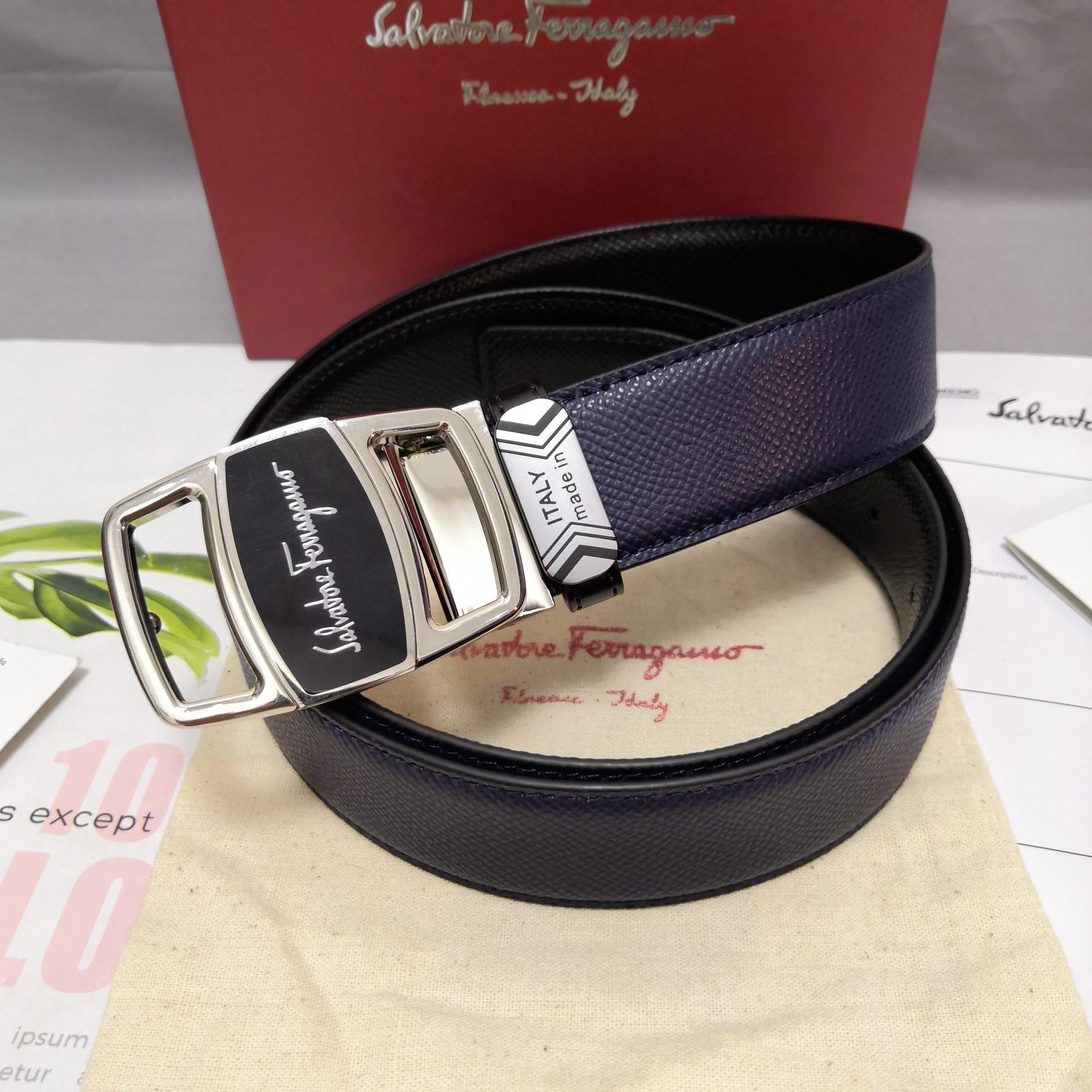 Original Copy Ferragamo Leather Reversible Belt Width 3.4cm 098