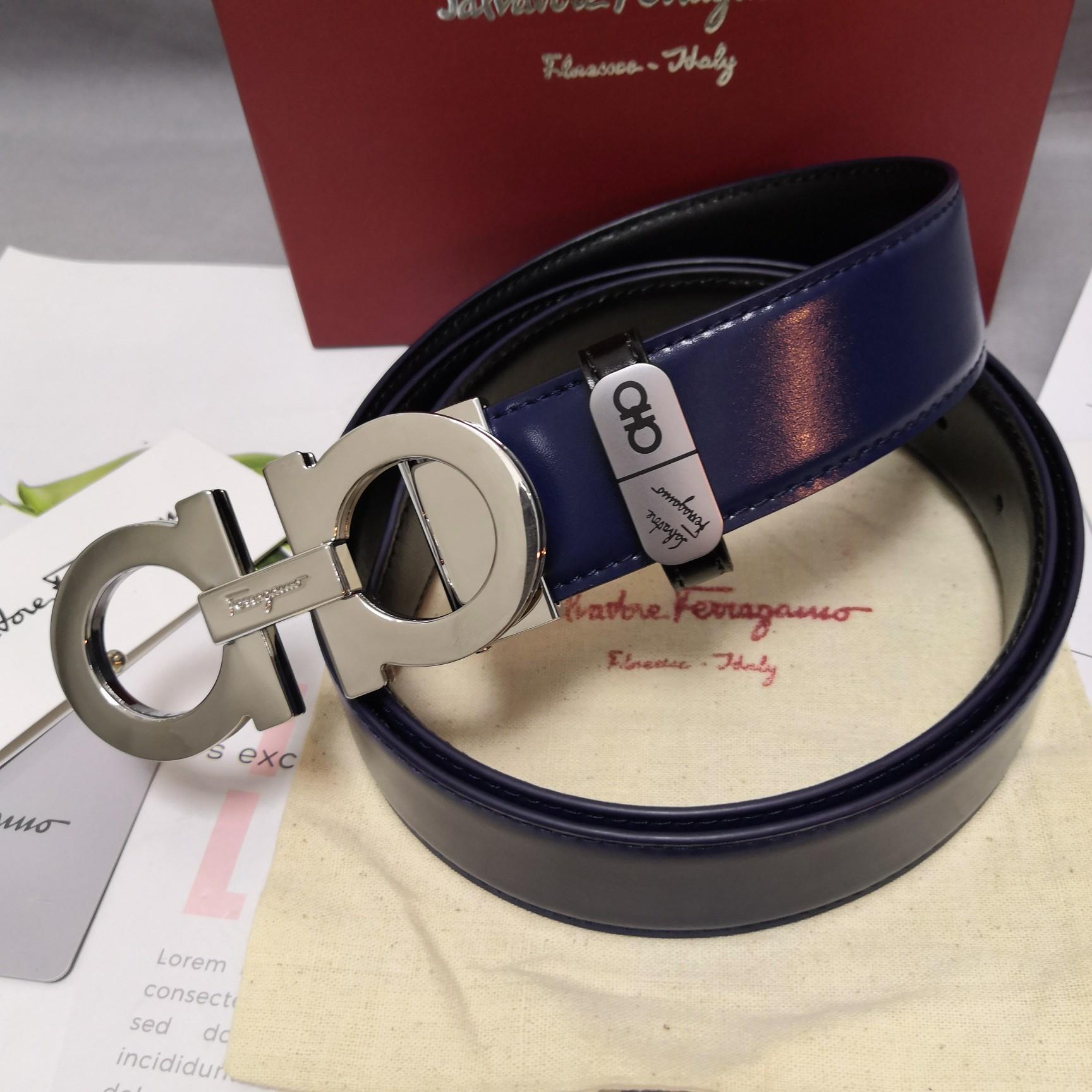 Original Copy Ferragamo Leather Reversible Belt Width 3.4cm 100