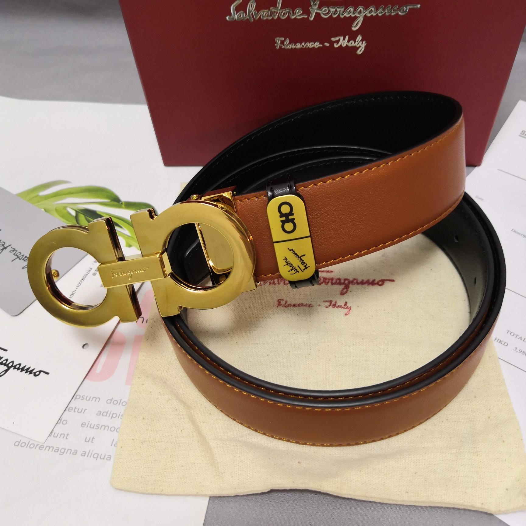 Original Copy Ferragamo Leather Reversible Belt Width 3.4cm 102