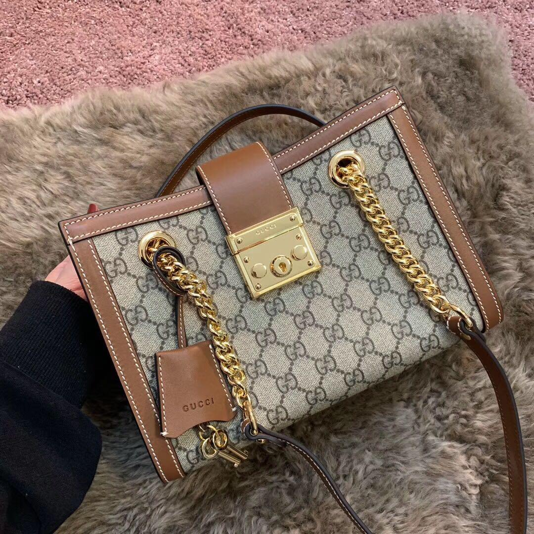Original Copy Gucci Padlock Medium GG Shoulder Bag Coffee 479197
