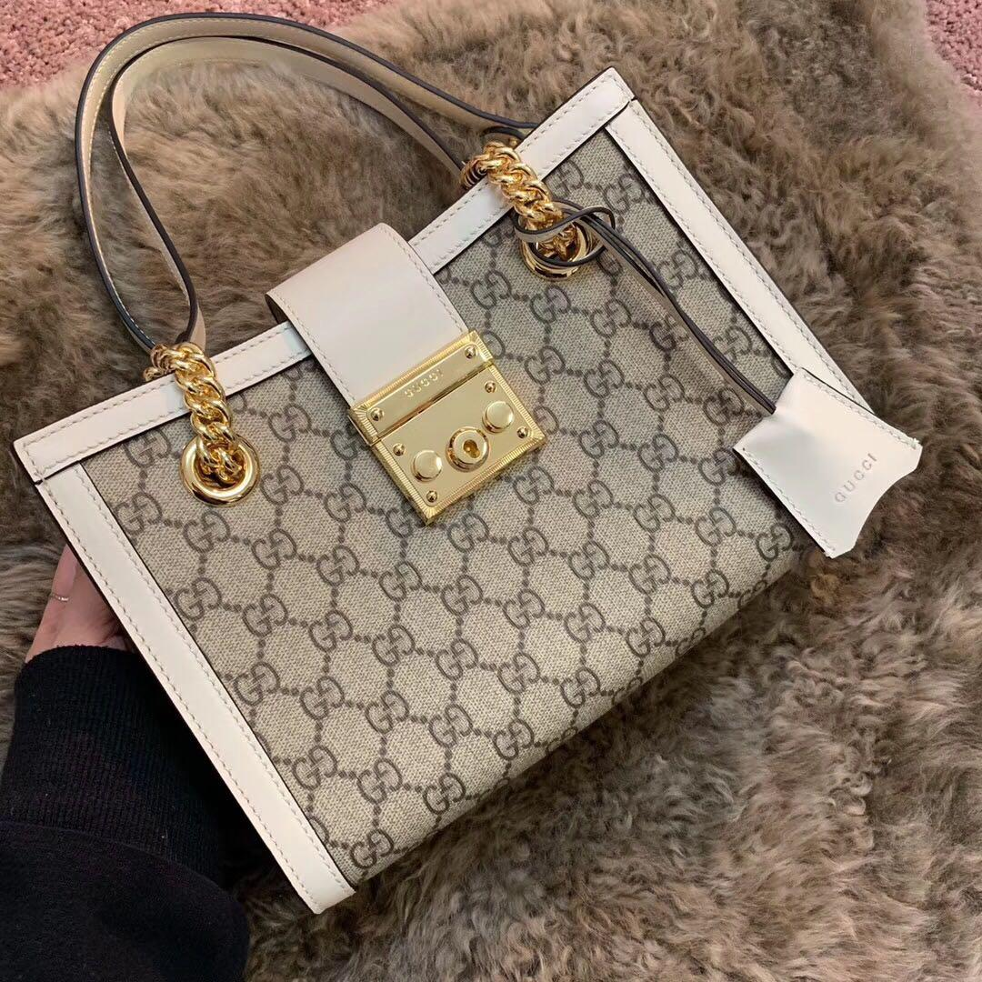 Original Copy Gucci Padlock Medium GG Shoulder Bag White 479197
