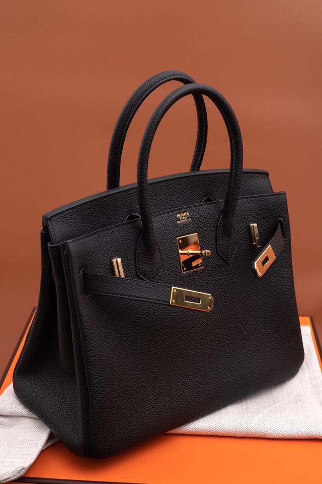 Original Copy Hermes Birkin 35cm Handbag Black with Gold