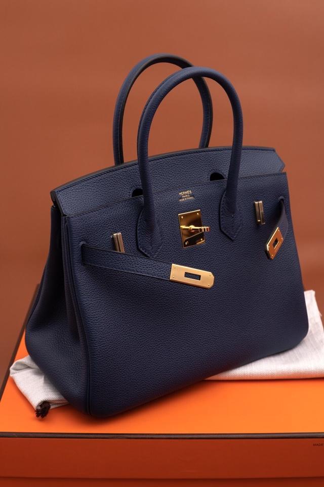 Original Copy Hermes Birkin 35cm Handbag Blue with Gold