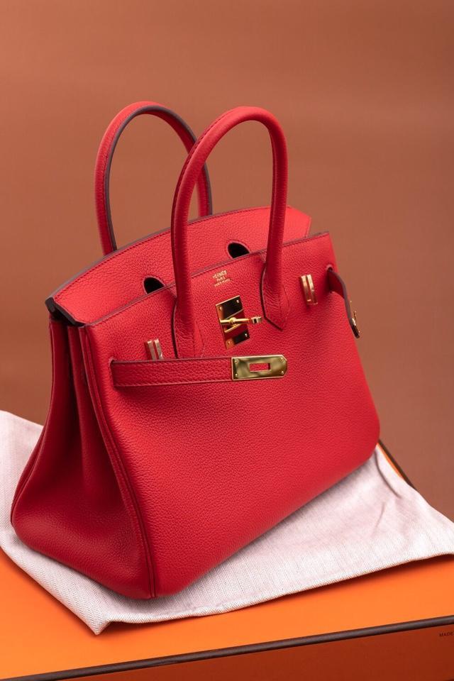 Original Copy Hermes Birkin 35cm Handbag Red with Gold