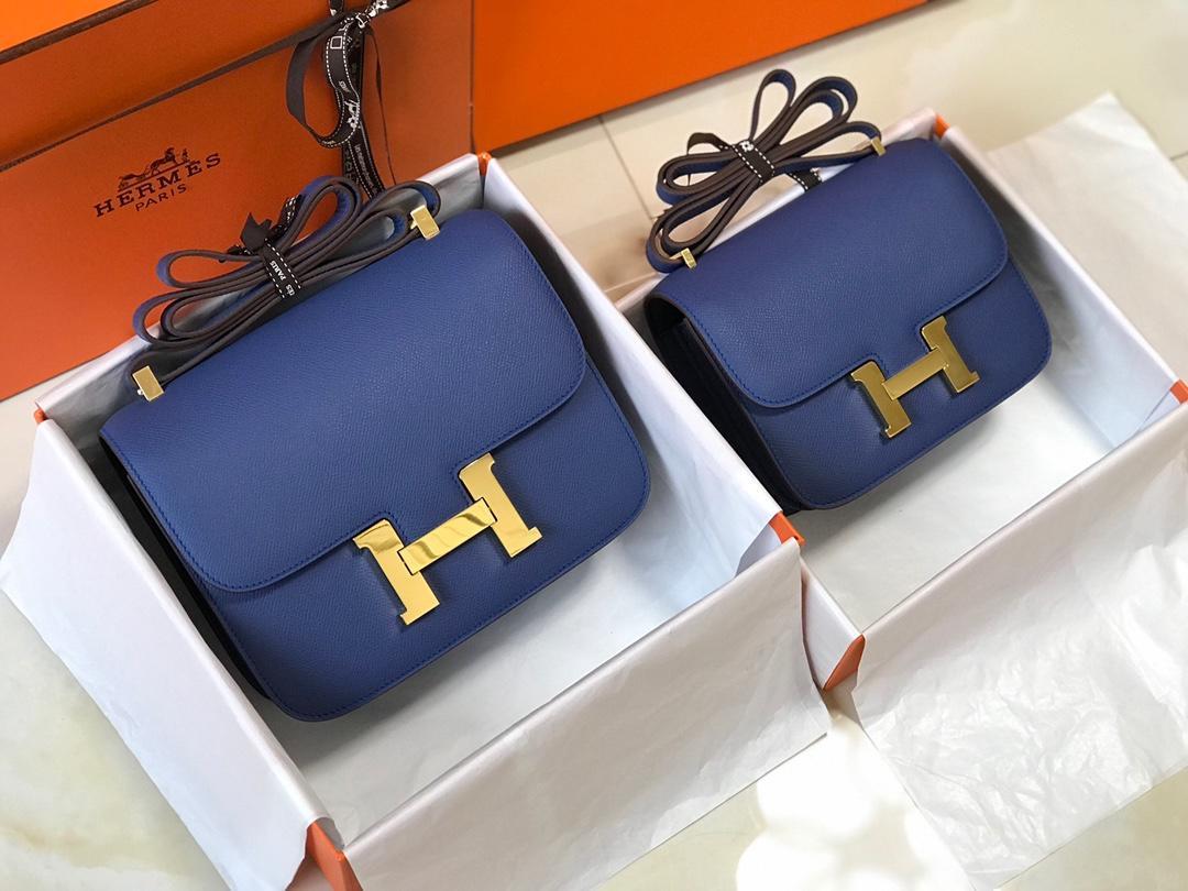 Original Copy Hermes Constance Shoulder Bag Dark Blue With Gold 23cm and 18cm