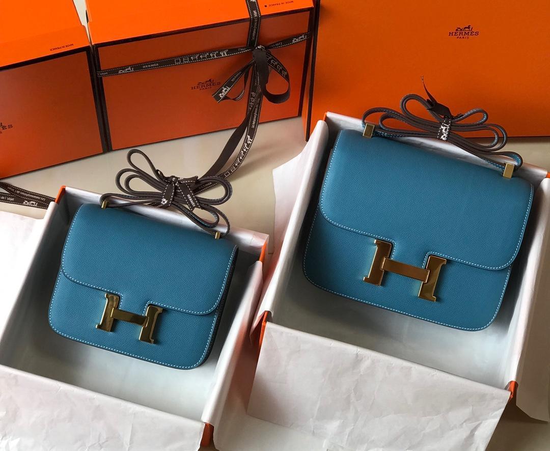 Original Copy Hermes Constance Shoulder Bag Light Blue With Gold 23cm and 18cm