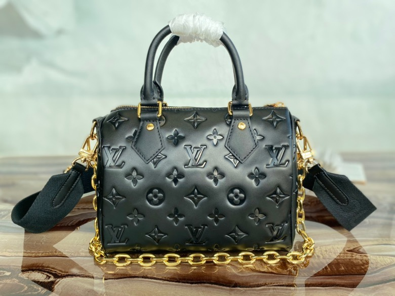 Original Copy Louis Vuitton M58631 Speedy Bandouliere 22 handbag Black Embossed Lambskin Leather