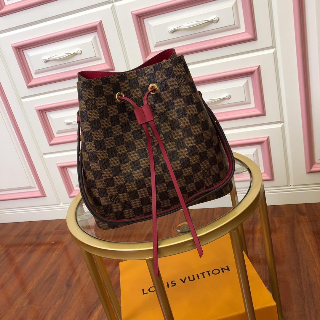 Original Copy Louis Vuitton NeoNoe Bucket Bag Cherry Berry Damier Ebene N40214