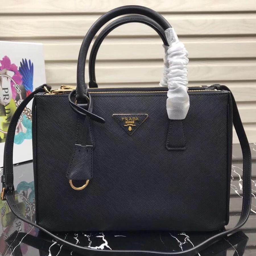 Original Copy Prada Galleria Small Saffiano Leather Bag Black 1BA863
