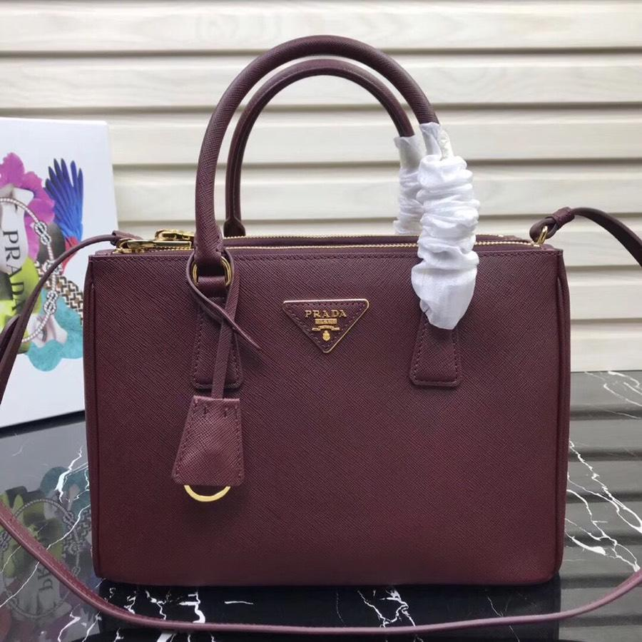 Original Copy Prada Galleria Small Saffiano Leather Bag Dark Red1BA863