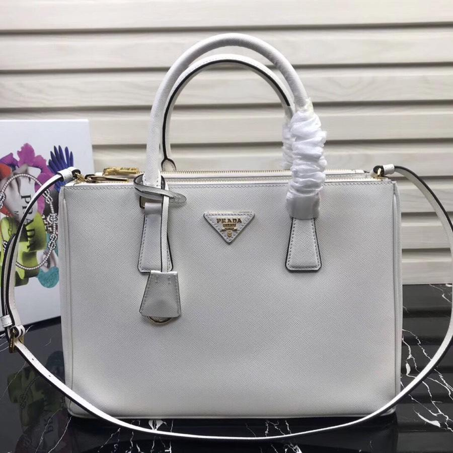 Original Copy Prada Galleria Small Saffiano Leather Bag White 1BA863