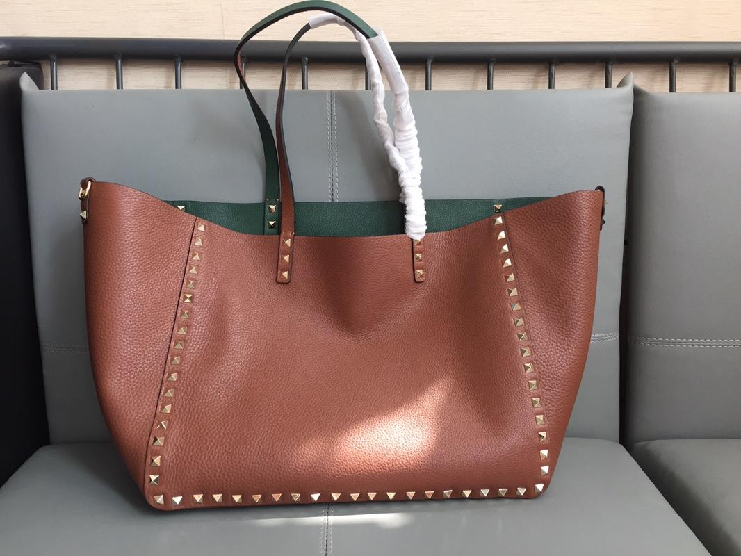 Original Copy Valentino Women Large Rochstud Tote Bag Print Brown and Green