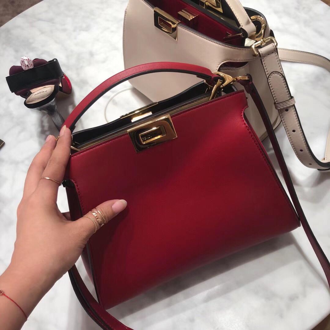 Original Quality Fendi Women Peekaboo Regular Leather Bag Red Black Khaki