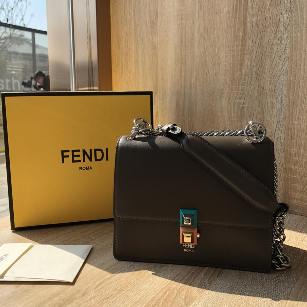 Perfect Replica  Fendi Small Kan I Coffee Leather Mini Bag