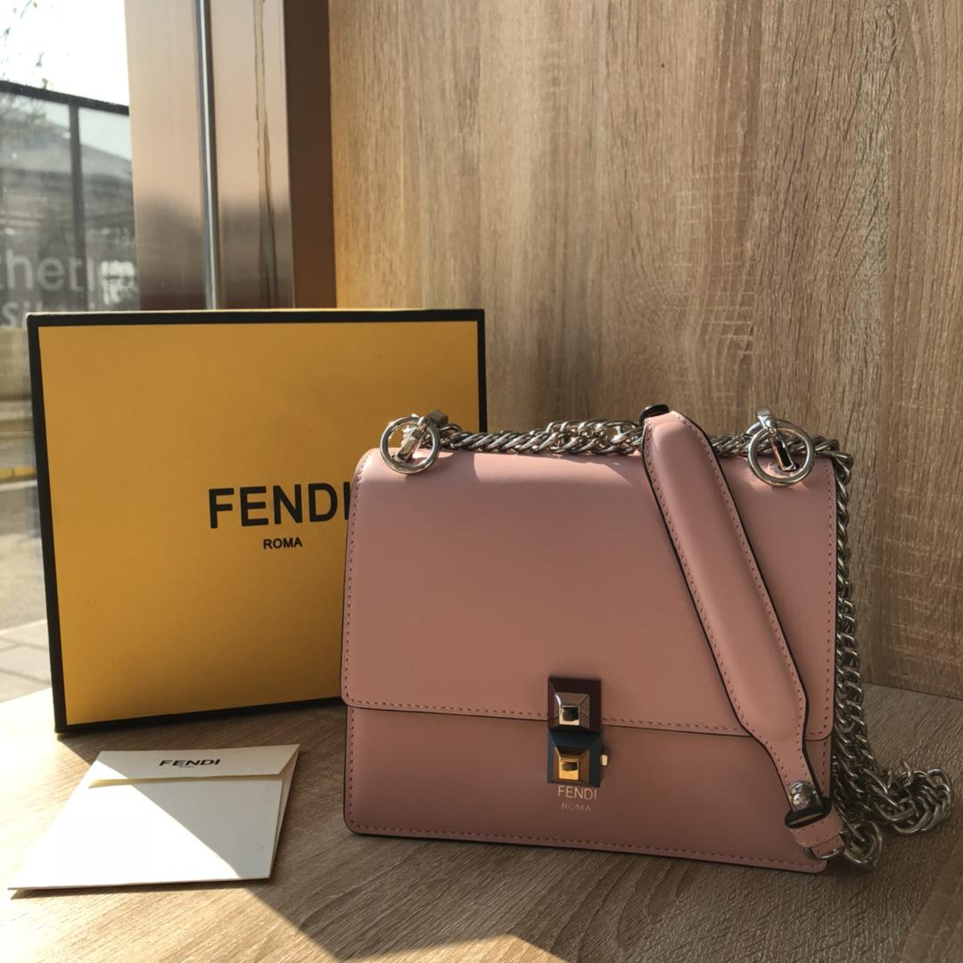 Perfect Replica  Fendi Small Kan I Pink Leather Mini Bag