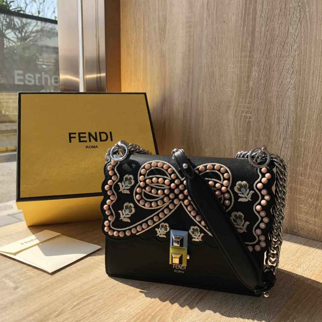 Perfect Replica Fendi Kan I Multicolor Leather Mini Bag