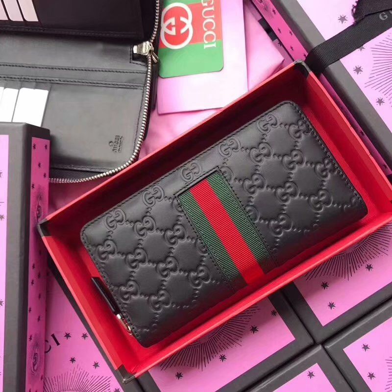Perfect Replica Gucci 408831 Men Signature Web Zip Around Wallet Black Leather