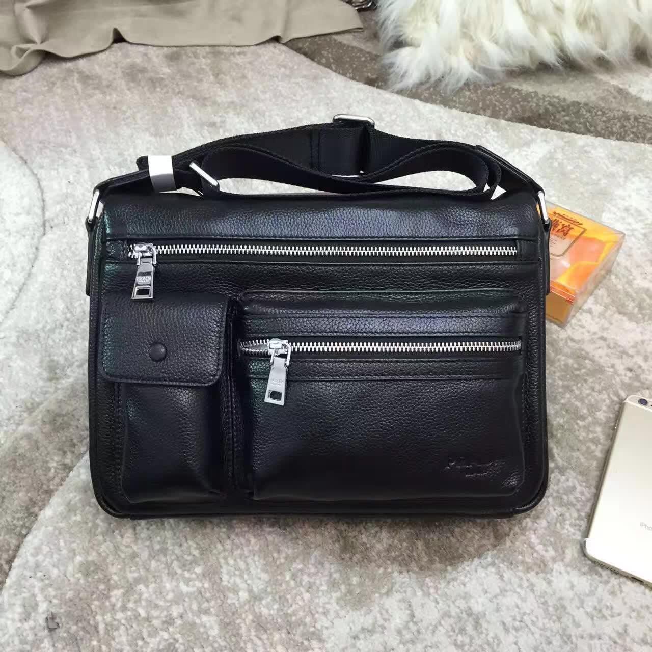 Prada 0228-3 Leather Men Clutch Messenger Bag Black