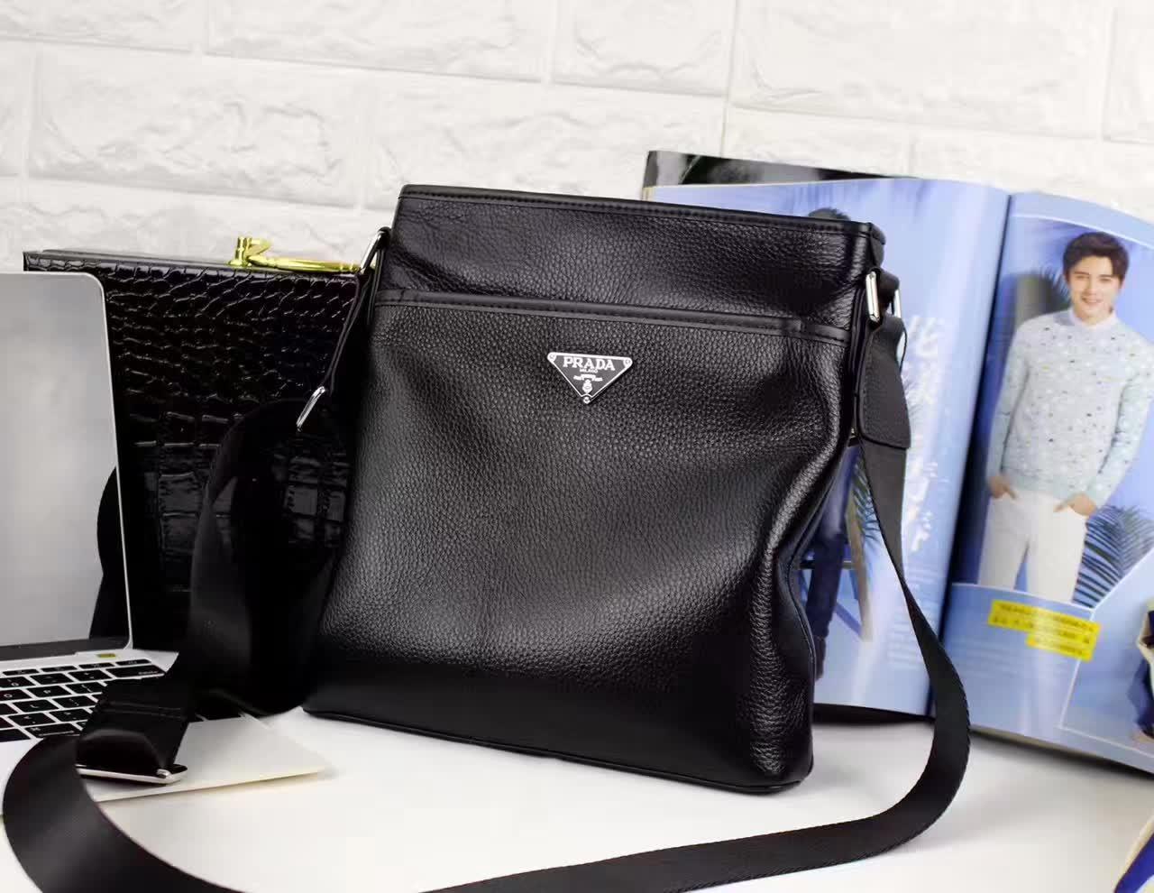 Prada 0242-3B Leather Men Messenger Bag Black